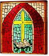 Stained Glass Window At Santuario De Chimayo Canvas Print