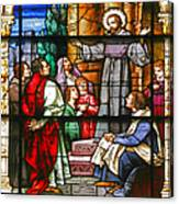Stained Glass Window Saint Augustine Preaching Canvas Print