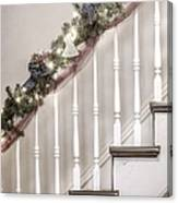 Stairs At Christmas Canvas Print