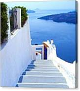 Stairs To The Blue Door Canvas Print