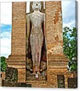 Standing Buddha At Wat Mahathat In 13th Century Sukhothai Historical Park-thailand Canvas Print