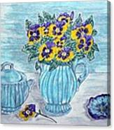 Stangl Pottery And Pansies Canvas Print