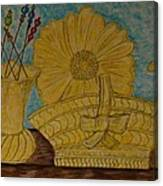 Stangl Pottery Satin Yellow Pattern And Vintage Hat Pins Canvas Print