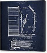Stanton Bass Drum Patent Drawing From 1904 - Navy Blue Canvas Print