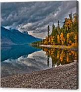 Stanton Mountain With Mount Vaught And Mcpartland Reflected In Lake Mcdonald Canvas Print