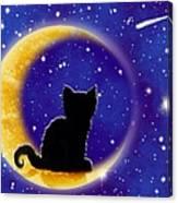 Star Gazing Cat Canvas Print