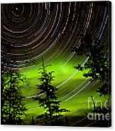 Star Trails And Northern Lights In Sky Over Taiga Canvas Print