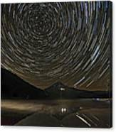 Star Trails Over Mount Hood At Trillium Lake Canvas Print