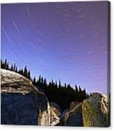 Star Trails Over Rocks In Saguenay-st Canvas Print
