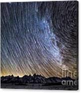 Star Trails Over Teton Mountains Canvas Print