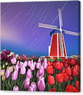 Star Trails Windmill And Tulips Canvas Print