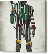 Star Wars Inspired Boba Fett Typography Artwork Canvas Print