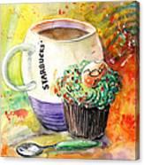 Starbucks Mug And Easter Cupcake Canvas Print