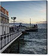 Starling Murmuration Over Brighton Pier In England Canvas Print