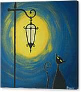 Starry Cat Night Canvas Print