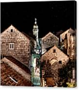 Starry Night Above The Rooftops Of Korcula Canvas Print