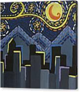 Starry Night Cityscape Canvas Print
