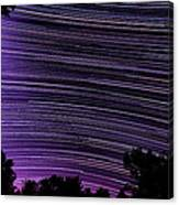 Starry Night In Ithaca New York Star Trail Photography Canvas Print