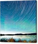 Startrails Aurora Borealis Display Lake Laberge Canvas Print