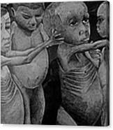 Starving Children Awaiting Relief Food Canvas Print