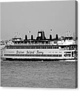 Staten Island Ferry In Black And White Canvas Print