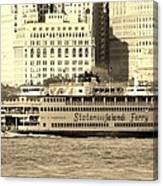 Staten Island Ferry In Sepia Canvas Print