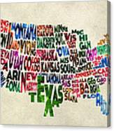 States Of United States Typographic Map - Parchment Style Canvas Print