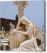 Statue Mourning Woman Canvas Print