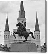 Statue Of Andrew Jackson In Black And White Canvas Print