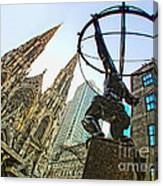 Statue Of Atlas Facing St.patrick's Cathedral Canvas Print