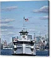 Statue Of Liberty Ferry Canvas Print