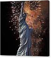 Statue Of Liberty Fireworks Canvas Print