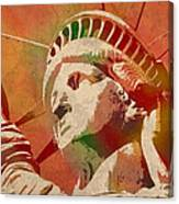 Statue Of Liberty Watercolor Portrait No 1 Canvas Print