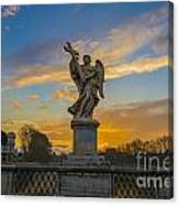 Statue With Cross Canvas Print