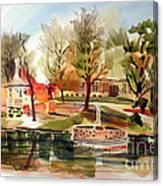 Ste. Marie Du Lac With Gazebo And Pond I Canvas Print