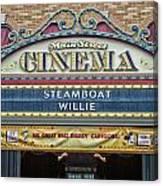 Steam Boat Willie Signage Main Street Disneyland 01 Canvas Print