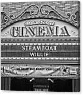 Steam Boat Willie Signage Main Street Disneyland Bw Canvas Print