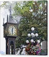 Steam Clock At Gastown In Vancouver Bc Canvas Print
