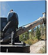 Steam Engine 489 At The Watering At Sublette Station On The Cumbres And Toltec Rr Canvas Print