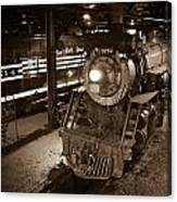 Steam Engine And Engineer Canvas Print