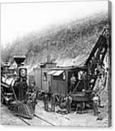 Steam Locomotive And Steam Shovel 1882 Canvas Print