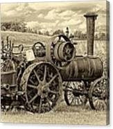 Steam Powered Tractor Sepia Canvas Print