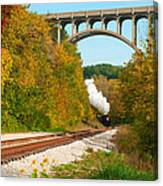 Steam Train Rounding The Curve Canvas Print