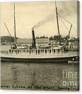 Steamer Eureka At Old Whaf Santa Cruz California Circa 1907 Canvas Print