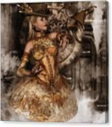Steampunk Dragon Friend Canvas Print
