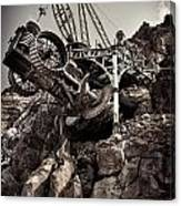 Steampunk Land Boring Machine At Disneysea Black And White Canvas Print