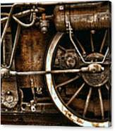 Steampunk- Wheels Of Vintage Steam Train Canvas Print