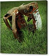 Steel Auto Carcass With Vultures Canvas Print