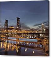 Steel Bridge Over Willamette River At Blue Hour Canvas Print