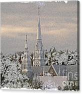 Steeples In The Snow Canvas Print